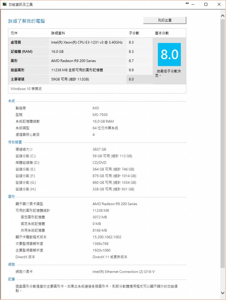 PC002 系統效能指數